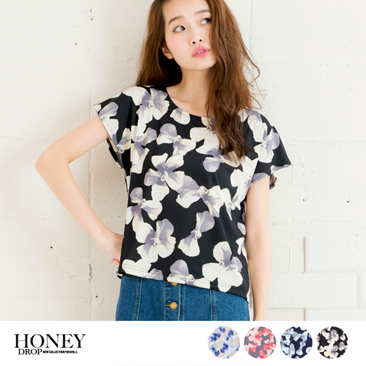 フレンチスリーブ花柄Tシャツ